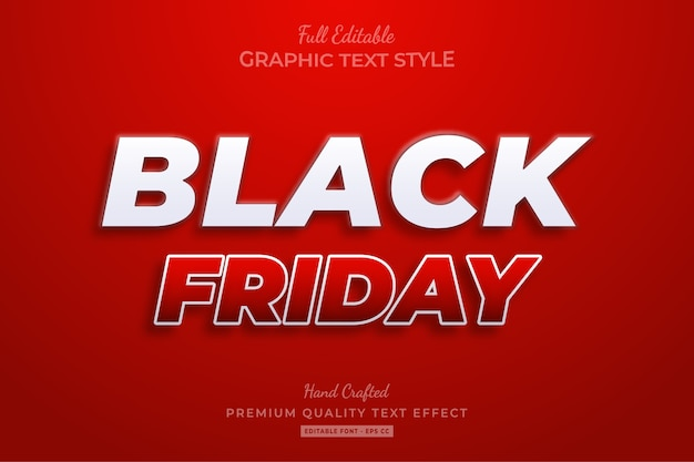 Red white black friday editable text style effect premium