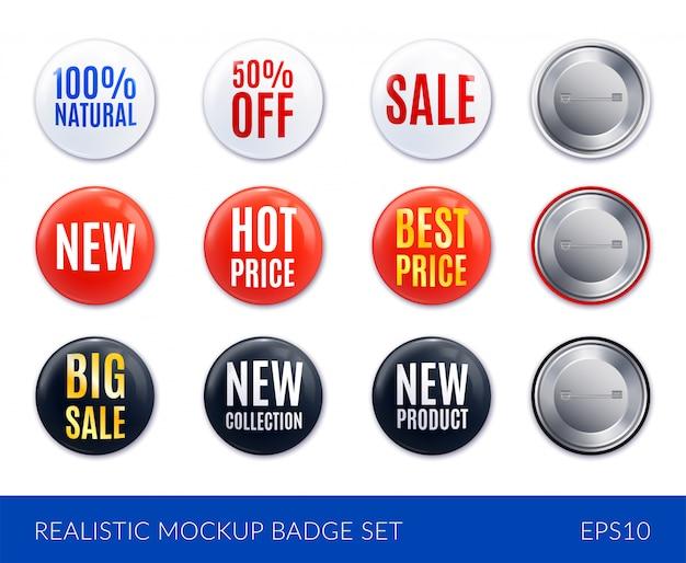 L'icona realistica bianca e nera rossa dell'autoadesivo del distintivo ha messo con la migliore vendita di prezzi di nuovo prezzo caldo e l'altra illustrazione di descrizioni