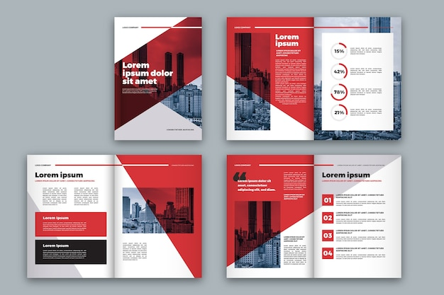 Red and white brochure template layout Free Vector