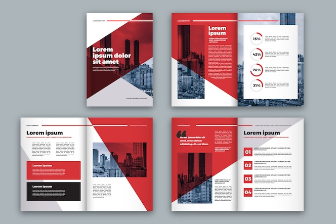 Red and white brochure template layout