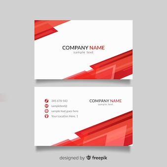 Red and white business card template