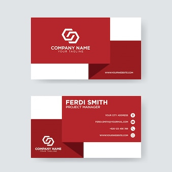 Red white business card