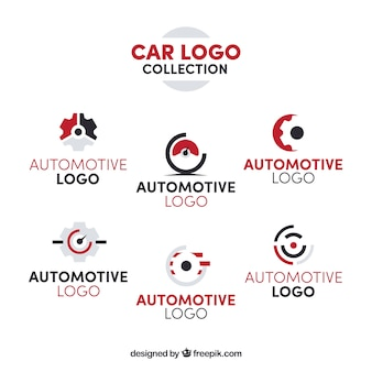 Red and white car logo collection