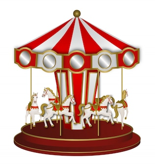 Red and white carousel with white horses