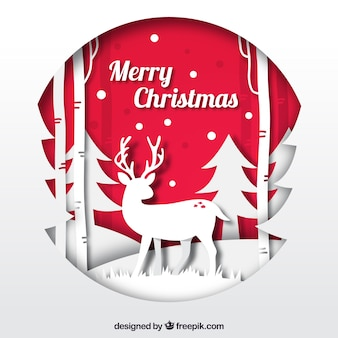 Red and white christmas background in paper style