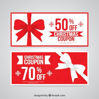 Red and white christmas coupons