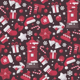 Red and white christmas elements seamless pattern