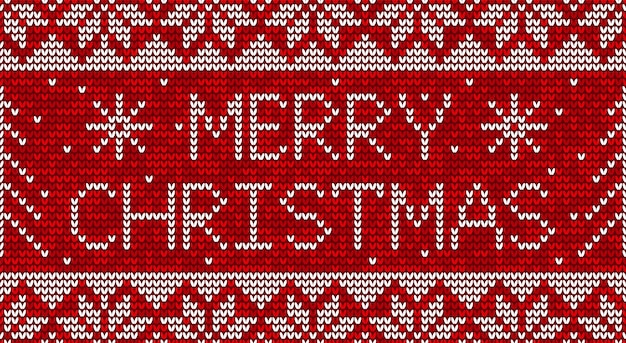 Red and white christmas knitting seamless pattern background