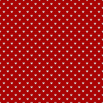 Red and white christmas knitting seamless pattern