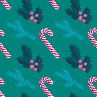 Red and white christmas lollipop stick, holly, pine tree seamless pattern, flat style.