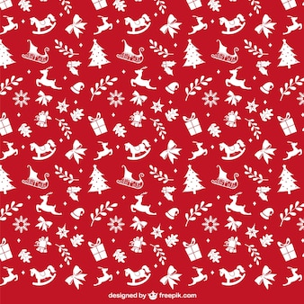 Red and white christmas pattern Free Vector