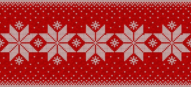 Red and white christmas seamless pattern  with snowflakes