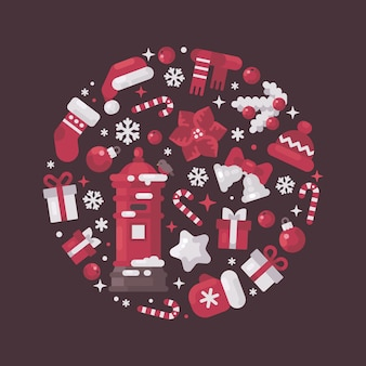 Red and white circle composition made from christmas and new year elements