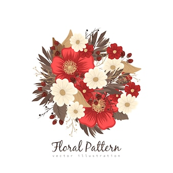 Red and white clipart flower isolated