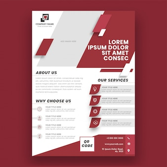 Red and white color layout business brochure, template or flyer design.