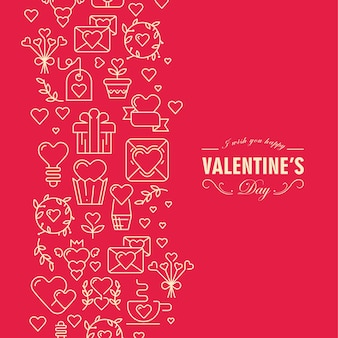 Red and white colored valentines day card with elements and text illustration