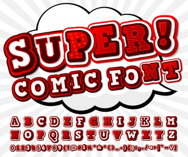 Red and white comics font, cartoonish alphabet in pop art style