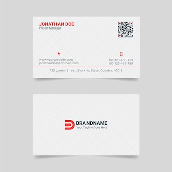 Red and white corporate business card design template with unique layout