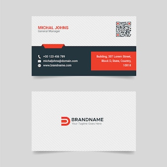 Red and white creative business card design professional visiting card template
