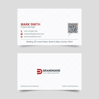 Red and white creative business card design template