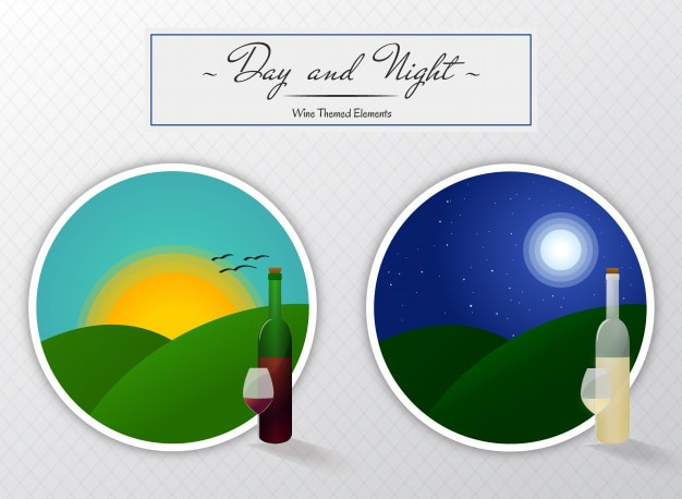 Red and white - day and night. concept of a wine bottle and glass on a nature background