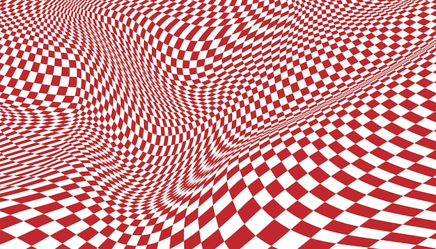 Red and white distorted checkered background