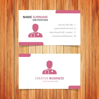 Red and white doctor business card