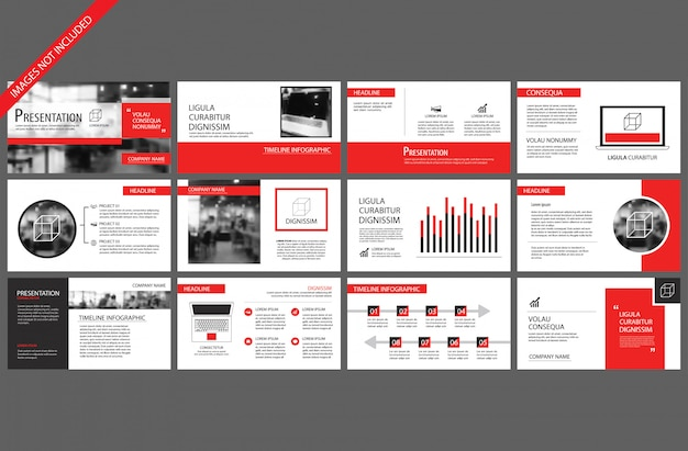 Red and white element for slide infographic on background.
