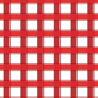 Red and white gingham tartan seamless pattern