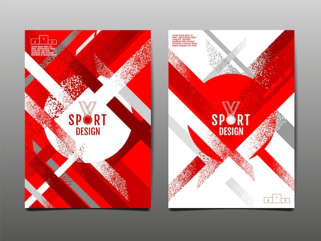 Red and white grunge sports template set abstract background