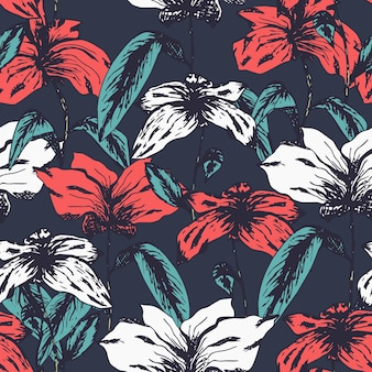 Red and white hand drawn exotic flowers delicate sketch seamless pattern on dark blue background