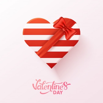 Red and white heart shape gift box