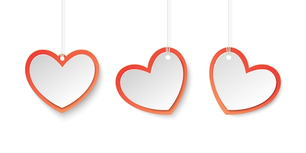 Red and white heart tags for love theme in paper style.