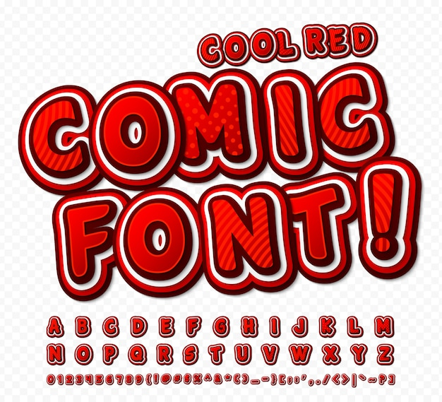 Red-white high detail comic font