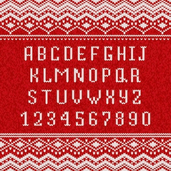 Red and white knitting alphabet
