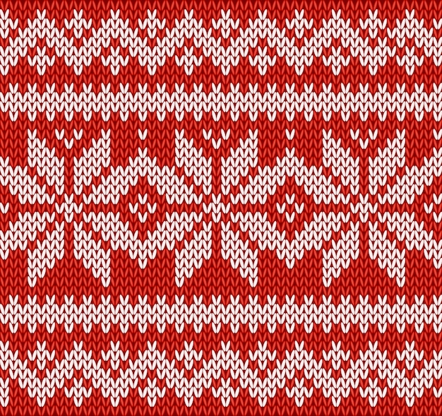 Red and white knitting seamless pattern with snowflakes