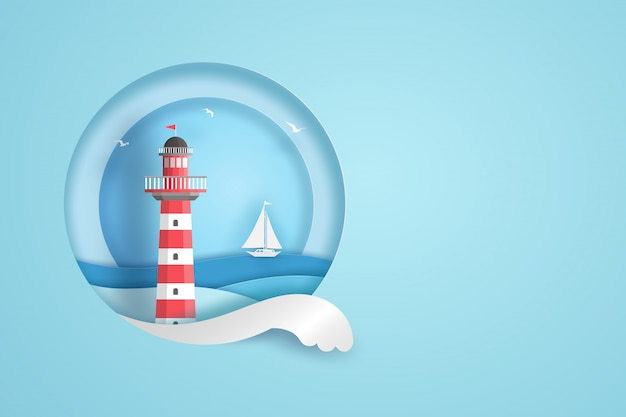 Red and white lighthouse in circle frame with the blue sea, clouds, birds and boat. vector paper art concept.