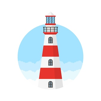Red and white lighthouse logo design template
