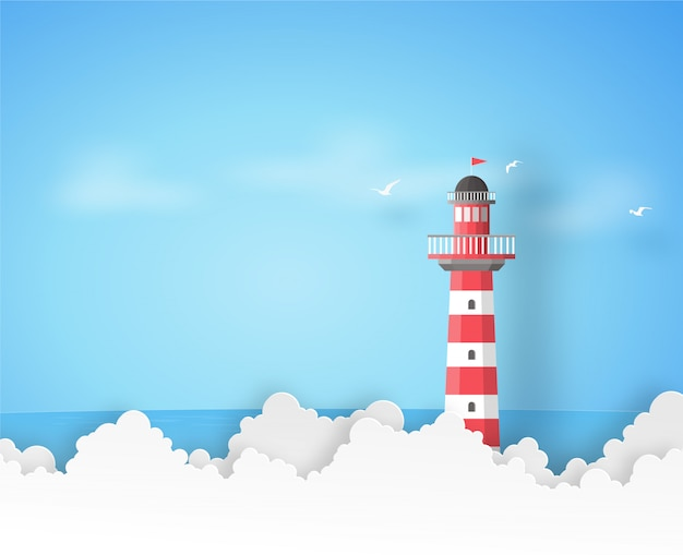Red and white lighthouse with the blue sea, clouds and birds in vector paper art background.