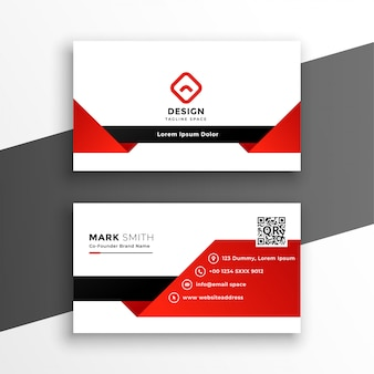 Red and white modern business card template