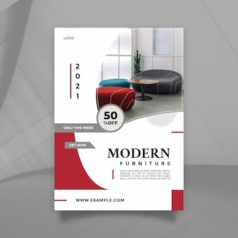 Red white modern furniture sale promotion design vector flyer and brochure template with a4 size