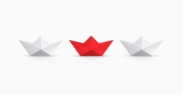Red and white origami boat