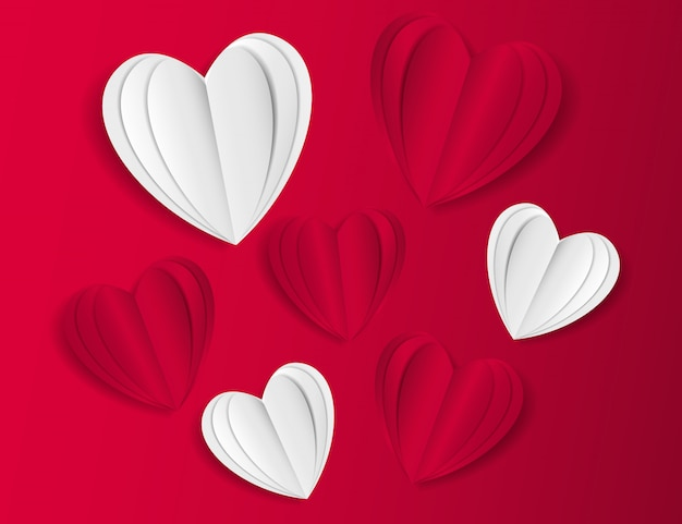 Red and white paper craft heart background with shadow effect.