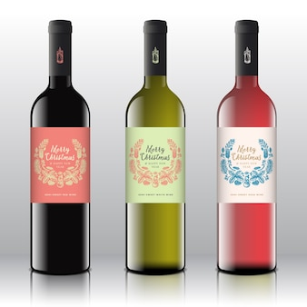 Red, white and pink wine set on the realistic  bottles.
