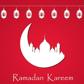 Red and white ramadan background