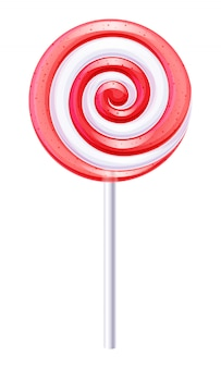 Red and white round spiral candy. strawberry or cherry lollipop.