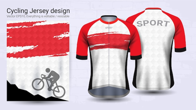 Red and white short sleeve sport mockup template
