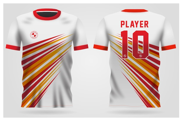 Red white soccer jersey uniform for football club, t-shirt  front and back view
