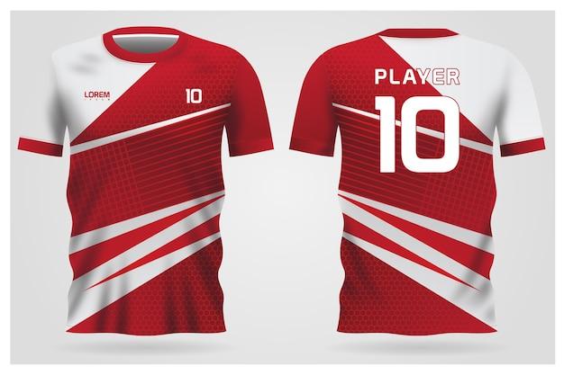 Красно-белая форма футболки для футбольного клуба, вид спереди и сзади футболки