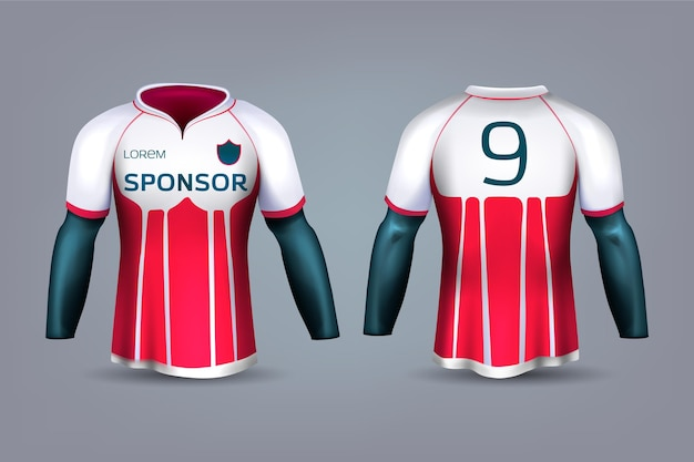 Red and white soccer jersey uniform
